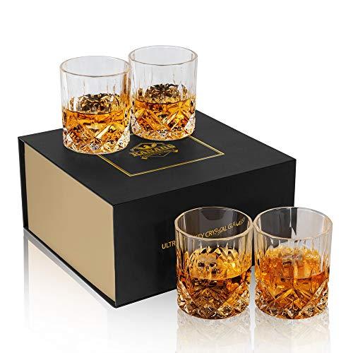 KANARS Bicchieri Whisky, Bicchiere Cocktail e Whiskey Cristallo, Bellissimo Regalo, Set di 4 Pezzi,...
