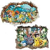 Kibi 2PCS Stickers Muraux Pokémon Pikachu Autocollant Mural pour Chambre...