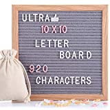 Felt Letter Board Gray 10x10 Inches with Stand, 920 PCS Changeable Letters & Lovely Emojis, Solid Oak Wood Material, Decorative Display Board Designed with Metal Hook on The Wall (Grey)