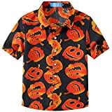 SSLR Big Boys' Fun Button Down Short Sleeve Halloween Shirt(Medium, Black Orange(56))
