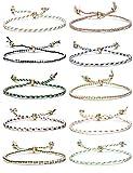 CASSIECA 10Pièce Manuel Tressé Bracelet D'amitié pour Femmes Filles Multicolore Chaîne Bracelet Poignet Cordon Cheville Réglable Cadeau d'anniversaire