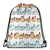 632 Mochila con Cuerdas,Neko Atsume Yokai Watch - Komajiro Komasan Drawstring Gym Bag, Daypacks Portátiles Decorativos con Cordón para Viajes Deportivos Al Aire Libre,36x43cm