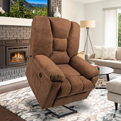 oneinmil Electric Power Lift Recliner Chair, Linen Recliners for Elderly, Home Sofa Chairs with Heat & Massage, Remote Control, 3 Positions, 2 Side Pockets and USB Ports, Coffee