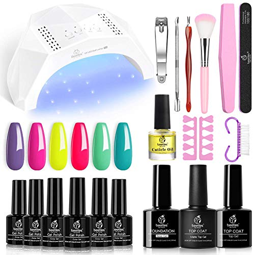Beetles Gel Nail Polish Kit with U V Light Starter Kit, Gel Polish 6 Pcs Soak off U V LED Nail Gel Polish Set Manicure Kit with 48W LED Nail Lamp, Base Gel Top Coat DIY Nail Art Gift for Mother's Day