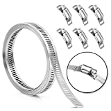 Hose Clamp Stainless Steel, DIY, 7.9FT Metal strapping with Holes + 6 Fasteners,Large Adjustable Clamp, Worm Gear hose clamps, Band Clamp, Marine Fuel Line Clamp, for Woodworking, Automotive