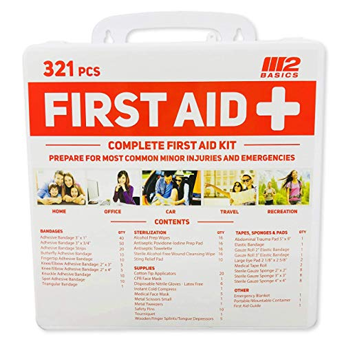 M2 BASICS 321 Piece Emergency Survival First Aid Kit   Medical Supply   Home, Office, Outdoors, Car, Camping, Travel