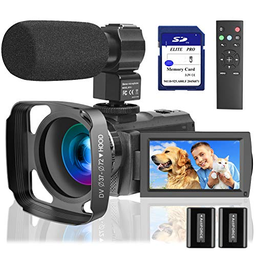 Video Camera Camcorder with Microphone 1080P, VideoSky 42MP HD 30FPS Digital Recording...