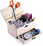 BTU Wooden Sewing Basket Box with Sewing Kit Accessories Good Gift for Adults/Kids/Girls/Beginner/Professional and Mother's Day