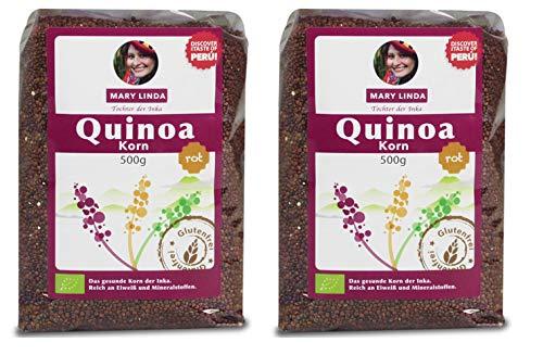 Mary Linda BIO Quinoa Korn - Vegan ohne Gluten & Soja, aus biologisch kontrolliertem Anbau (rot) (2 x 500g)
