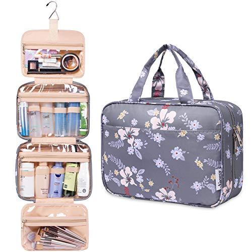 Groß Reise Kulturtasche Zum Aufhängen Kulturbeutel Kosmetiktasche Waschtasche für Kinder Frauen Mädchen Damen (Dunkle Blume)