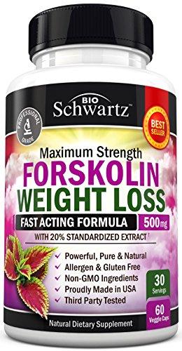 Forskolin Extract for Weight Loss. Pure Forskolin Diet Pills & Belly Buster Supplement. Premium Appetite Suppressant, Metabolism Booster, Carb Blocker & Fat Burner for Women and Men Coleus Forskohlii 6