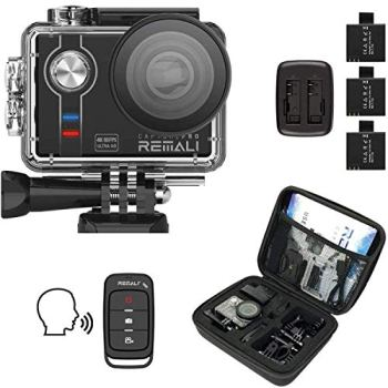 """REMALI CapturePro 4K/60fps 20MP Waterproof Sports Action Camera Kit with Carrying Case + 3 Batteries, WiFi, 2"""" Touch Screen, 8X Zoom, Slow/Fast Motion, Remote/Voice Control, EIS, Distortion Correction"""