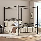 Deluxe Design Queen Size Metal Canopy Bed Frame with Ornate European Style Headboard & Footboard Sturdy Steel Holds Perfectly Fits Mattress Easy DIY Assembly Black