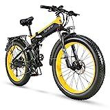 Cyrusher XF690 1000W Folding Electric Mountain Bike 264 inch Fat Tire e-Bike 27 Speeds Beach Cruiser Mens Sports Mountain Bike for Adults,48V 12.8AH Lithium Battery Beach Cruiser for Adults (Yellow)