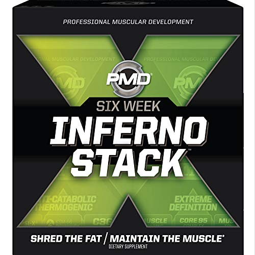 PMD Sports Six Week Inferno Stack - Maximum Strength Fat Burner and CLA Omega Fatty Acid to Lose Fat Fast and Increase Muscle Tone - Arsenal X Inferno/120 Liquid Gels, Omega Cuts Elite/180 Softgels 1