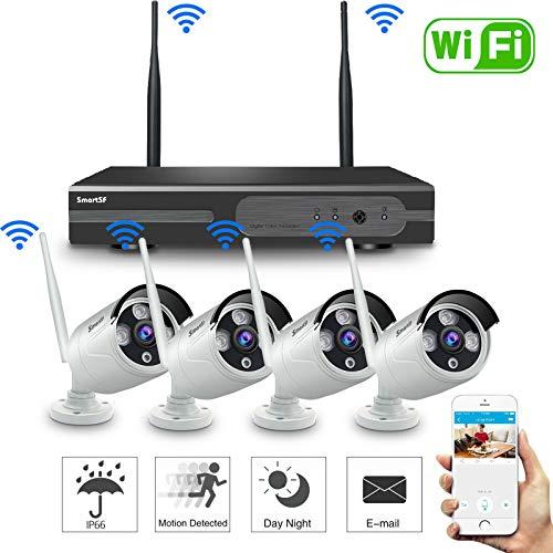 SmartSF 8CH 720P Wireless Kit Videosorveglianza HD NVR Kit Wifi Sistemi di sorveglianza,(4) 1.0 MP Telecamere Bullet IP per esterni,P2P,65ft Visione notturna,Nessun cavo video necessario,NESSUN HDD