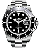 40 mm stainless steel case with Round watch featuring corrugated unidirectional bezel. Classic Style For Men, Synthetic Sapphire crystal ,Screw-Down Crown ,With Hacking Function,Unidirectional Rotatable Bezel(Set Second Time Zone or As a Timer) 25 Je...