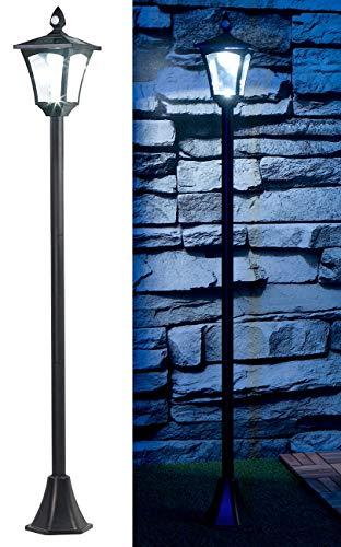 Royal Gardineer Solar Garten Lampe: Solar-LED-Gartenlaterne, PIR-Sensor, Dämmerungssensor, 100 lm, 160 cm (LED Gartenlampen)