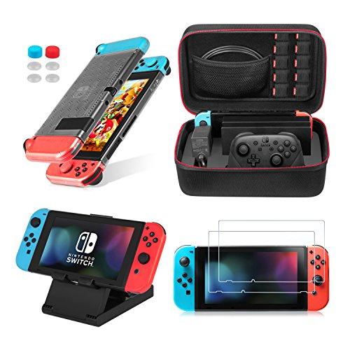 Keten 13-in-1 Nintendo Switch Zubehör-Set, inkl. Nintendo Switch Transporttasche / Switch Clear Cover Case / Verstellbarer Ständer / HD Displayschutzfolie (2 Stück)