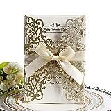 Tarjetas de invitación de boda,10Pcs Hollow diseño floral invita a la tarjeta de bolsillo con cinta para las duchas nupciales,reunión,incluye 10Xtapas,10xinterior Card,10xRibbon,Glitter Ora
