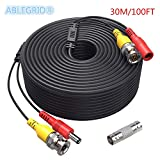 ABLEGRID 100ft Black BNC Video Power Wire Cord for Swann Night Owl CCTV Cameras Cable Black