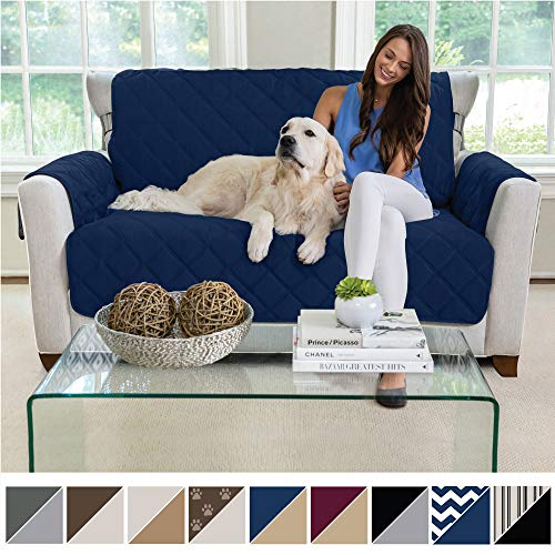 MIGHTY MONKEY Premium Reversible Loveseat Slipcover, Seat Width to 54 Inch Furniture Protector, 2 Inch Elastic Strap, Washable Slip Cover, Protects from Kids, Dogs, and Pets Love Seat, Navy Tan