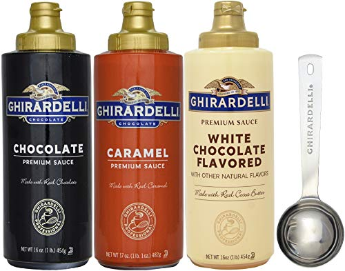 Ghirardelli - 16 oz Chocolate, 16 oz White Chocolate Flavored, 17 oz Caramel Sauce Squeeze Bottle - Set of 3 - with Limited Edition Measuring Spoon