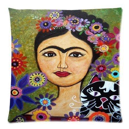 Fhdang Decor - Funda de cojín con Cremallera, 45,7 x 45,7 cm, diseño de Frida Kahlo