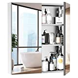 kleankin Bathroom Mirrored Cabinet, 24'x26' Stainless Steel Frame Medicine Cabinet, Wall-Mounted...
