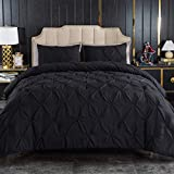 Andency Black Pinch Pleated Comforter King(104x90Inch), 3 Pieces (1 Pintuck Comforter, 2 Pillowcases) Pintuck Comforter Set ,Microfiber Down Alternative Comforter Bedding Set