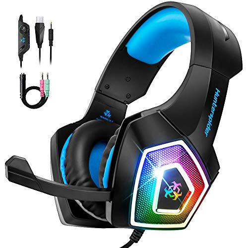 Bovon Cuffie Gaming per Xbox One PS4, Cuffie con Microfono a Cancellazione di Rumore e RGB Luce LED, Cuffie Gioco Over-Ear con Paraorecchie di Memoria Morbida per PC, Mac, Laptop, Nintendo Switch