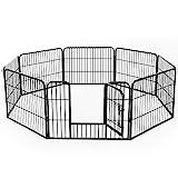 HOMCOM PawHut Parque para Mascotas Bricolaje Jaula para Perros 8 Vallas 80x60 cm de Metal con Puerta y Doble Cerradura Cerca de Entrenamiento Negro