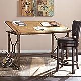SEI Furniture Knightley Tilt Top Drafting Table - 51.5' Wide - Oak Wood Finish w/Antique Brass