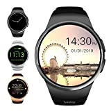 Evershop Smart Watch 1.4 inches IPS Round Touch Screen Smartwatch Phone with SIM Card Slot, Sleep Monitor, Heart Rate Monitor and Pedometer for iOS and Android Device (Black)