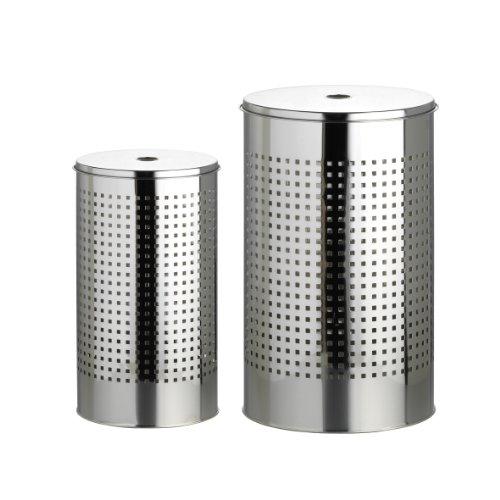 axentia Wäschentonnenset, bestehend aus zwei verschiedenen Wäschebehältern, mit schwarzem Kunststoffboden gegen Verkratzungen, mit moderner Lochmusterung, Wäschetonne aus hochwertigem, robustem Edelstahl, das Volumen der Tonnen beträgt ca. 35 l und ca. 55 l