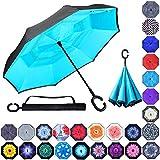 Double Layer Inverted Umbrellas Reverse Folding Umbrella Windproof UV Protection Big Straight...