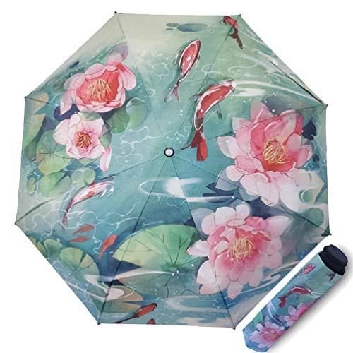 Maibar Sonnenschirm für Frauen UV-Schutz Dreifach faltende Regenschirme Kreativ 3D gedruckt Blumen Damen Silberner Kleber 190T 8 Knochen Sonnenschirme Business-Geschenke (Blau)