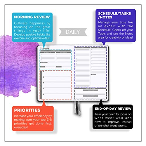 Product Image 1: Daily Planner 2021 by Panda Planner - Organizer Planner for Goals, Gratitude & Focus - Weekly & Monthly Agenda Sections - Undated 90 Day Planner