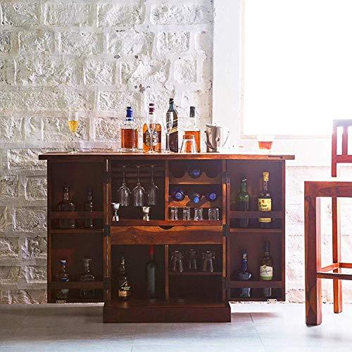 Craftswood Sheesham Wood Bar Cabinet Rack Hard and Soft Drinks Storage Cabinets Sheesham Wood Furniture Wine Wisky Scotch All Type Drinks Bar Cabinet for Living Room (Honey Oak Finish)