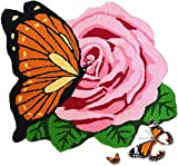 Abreeze Butterfly and Rose Rug Hand Embroidery Rural Style Area Rug Home Decoration Carpet for Bedroom/ Hallway/ Living Room/ Toilet Handmade Washable Mats ,1 Rose, Pink