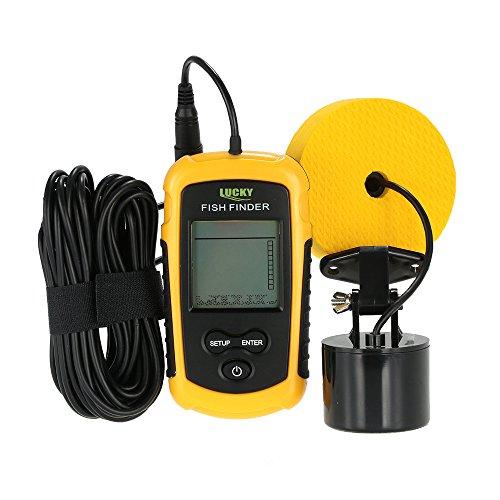 Lixada Ecoscandaglio da Pesca 100M/328ft Portatile del Sonar LCD Wired Finder Ecoscandagli Cercatori dei Pesci Allarme (Giallo1)