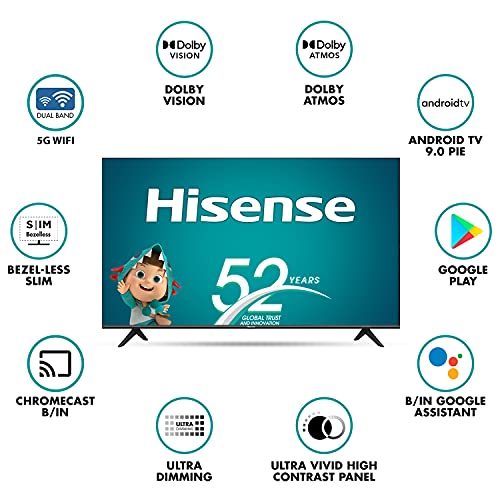 Hisense 139 cm (55 inches) 4K Extremely HD Sensible Licensed Android LED TV 55A71F (Black) (2020 Mannequin) | With Dolby Imaginative and prescient and ATMOS