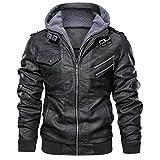 MMHA Denzell Outwear Anarchist Leather Jacket Hooded Motorcycle Coat Biker Style Men (L, Gray)