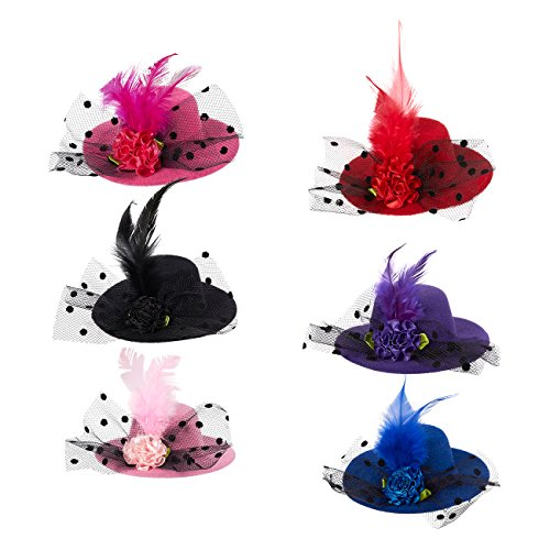 Mini Hat, Decorative Hair Clips (6 Colors, 3.2 in, 6-Pack)