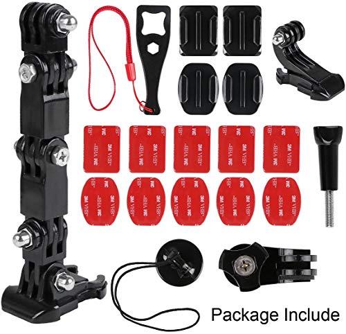 QINGSE Kit di Montaggio per Casco e Anteriore,Girevole Laterale Kit Laterale, Include Fibbia a Gancio a J, Clip Rapida, 3m Adesivi,Supporto per GoPro, Xiaomi, SJCAM e Altre Action Cam