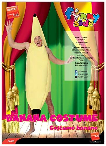 Smiffy's Smiffys-30468 Disfraz de banana, enterizo, color amarillo, Tamaño único 30468