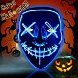 Halloween Purge Mask Light Up Scary Mask EL Wire LED Mask for Festival Party Gifts (Blue)