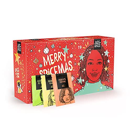 Calendario de Adviento Just Spices pequeño 2021 I Calendario de Navidad con 24 mezclas de especias + recetario I Especias deliciosas como regalo para hombres y mujeres.