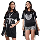 para Mujer Ropa de salón Premamá Lactancia Pijama/Bata 1017 (Negro, L)