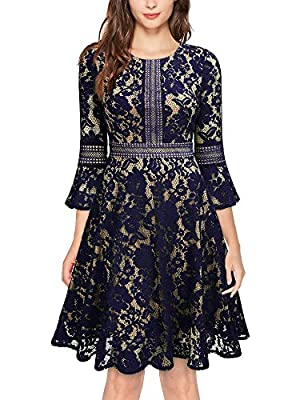 Size RECOMMEND: US 4/6(Small), US 8/10(Medium), US 12/14(Large), US 16/18(X-Large),US 20 (XX-Large) Knee Length,Back Zipper,Bell Sleeve Retro Elegant Style, Full Lace Overlay, Big Swing Style, Suit for Evening, Cocktail, Wedding Party and Business Oc...